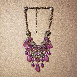 Vintage Statement Pink  Bead Goldtone Necklace